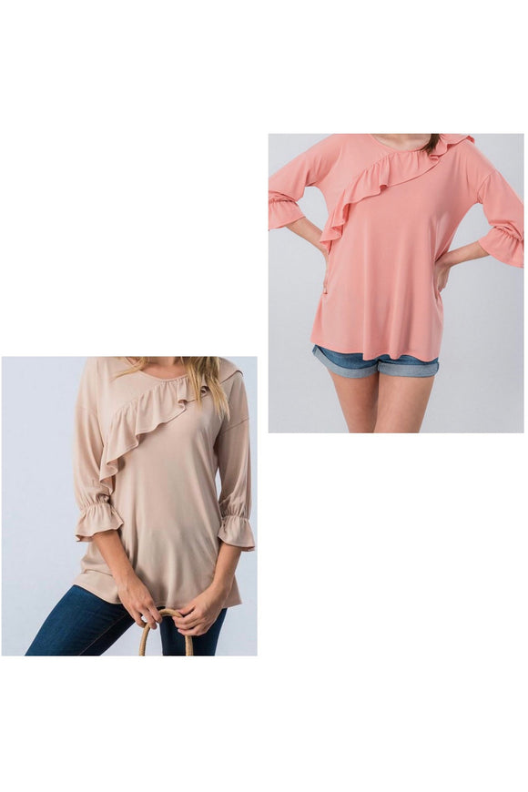 Ruffle Bishop Sleeve Top