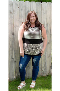 Curvy Stripes and Leopard Tunic Tank