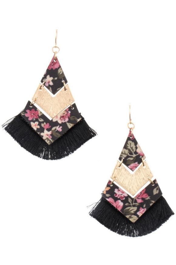 Floral Chevron Link Tassel Earrings (Black)