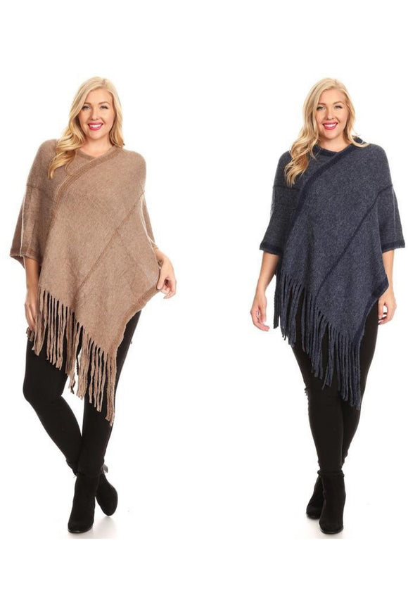 Curvy Wool Knit Pullover Poncho