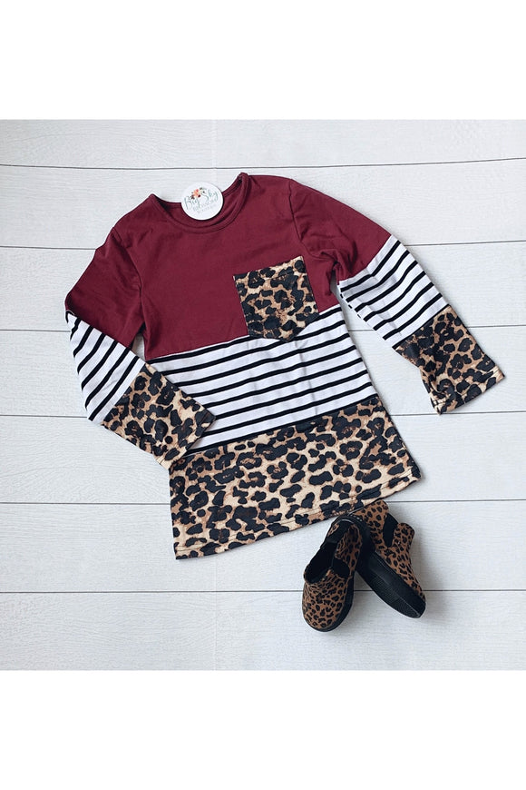 Girls Leopard Color Block Raglan