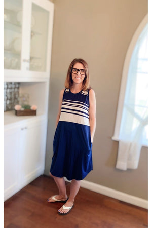 Navy Striped Casual Dress