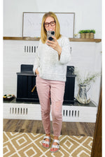 Load image into Gallery viewer, Blush Destructed Joggers