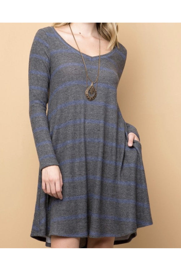 Curvy Cashmere Stripe Dress