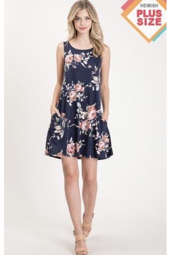 Curvy Navy Floral Dress