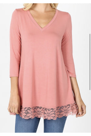 V-Neck Lace Trim Tunic Top