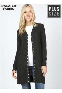 Curvy Black Snap-Button Thigh Length Cardigan