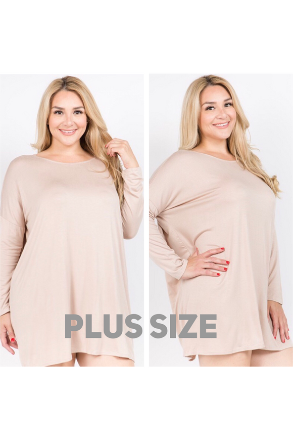 Plus Size Long Sleeve Solid Knit Tunic Top (Kahki)