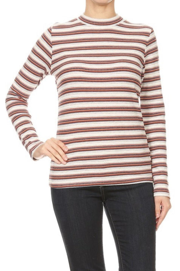 Waffle Knit Mock Neck Top