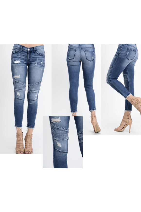 IN STOCK Kan Can Distressed Motto Jeans