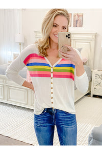 Rainbow Stripes Knotted Top