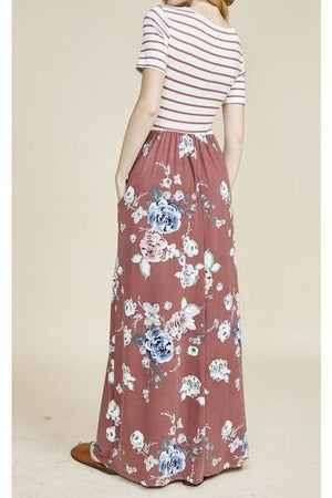 Curvy Mauve Floral Maxi Dress