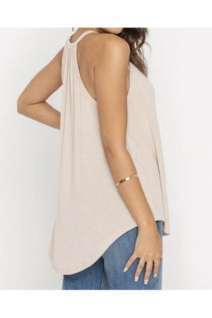 Oatmeal Flowy Tank Top