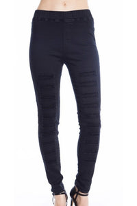 High Waist Distressed Jeggings (Black)