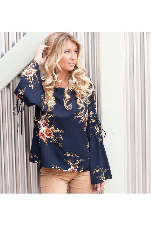 Criss Cross Open Sleeve Floral Top (Navy or White)