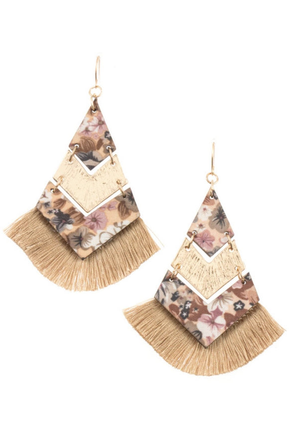 Floral Chevron Link Tassel Earrings (Tan)
