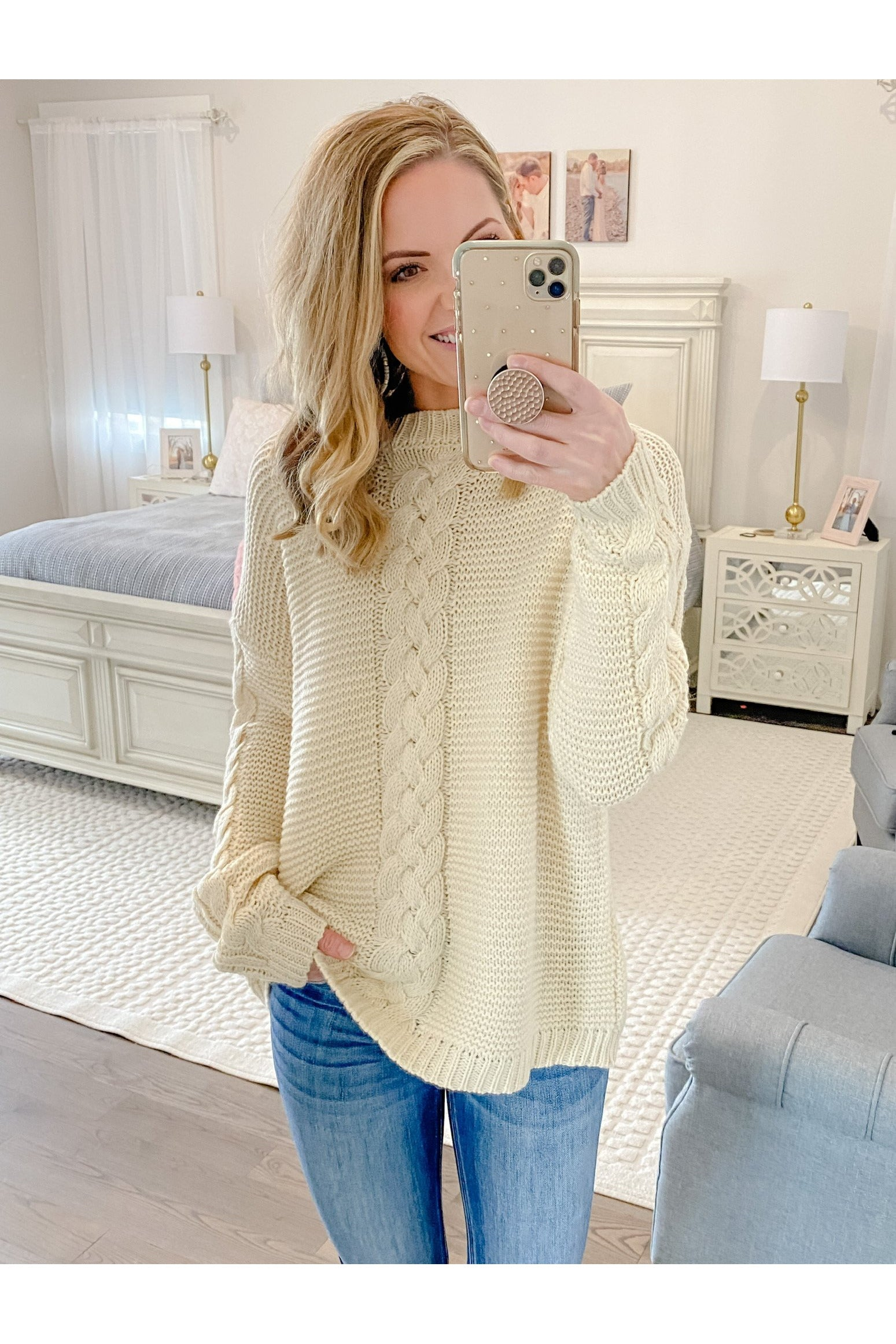 Ivory Chunky Braided Sweater