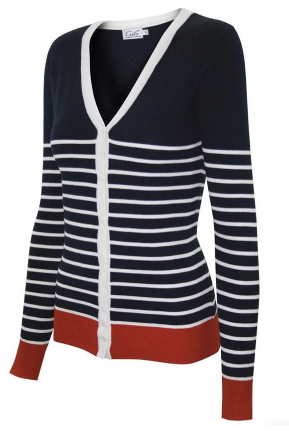 Long Sleeve V-Neck Button Down Cardigan (Navy)