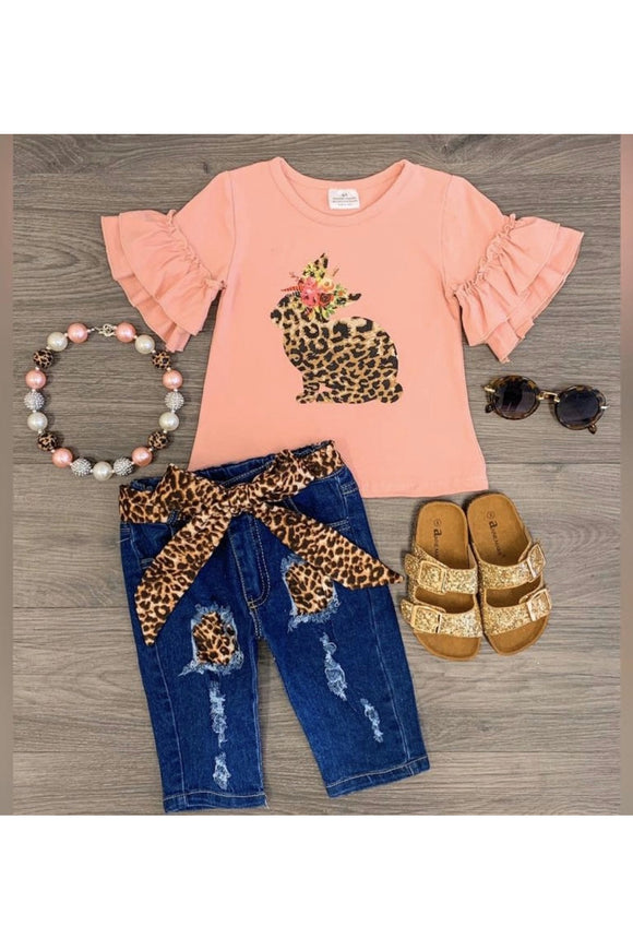 Girls Cheetah Bunny Set