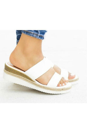 Wedge Sandal (White or Leopard)
