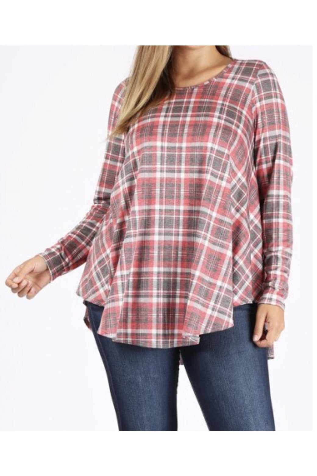 Curvy Fall Red Plaid Tunic Top