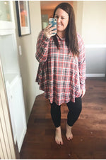 Load image into Gallery viewer, Curvy Fall Red Plaid Tunic Top