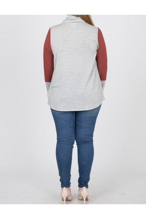 Curvy Striped Cowl Neck Top