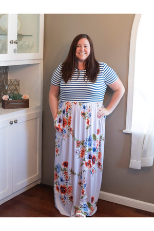 Curvy Light Blue Floral Maxi Dress