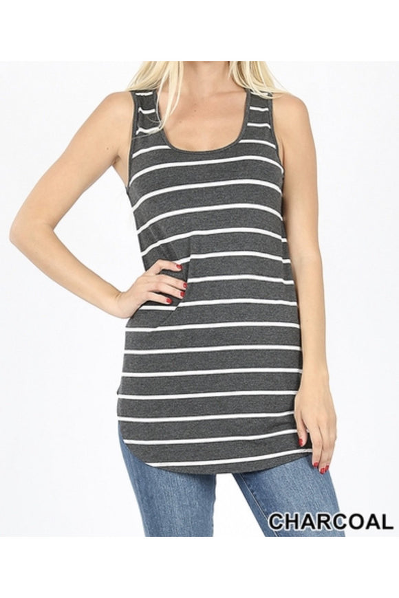 All About the Basics Striped Tank Top