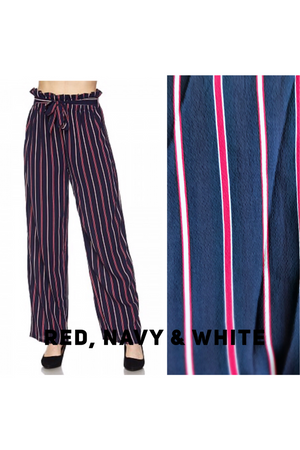 Paperbag Wide Leg Pants (Red/Navy/White)
