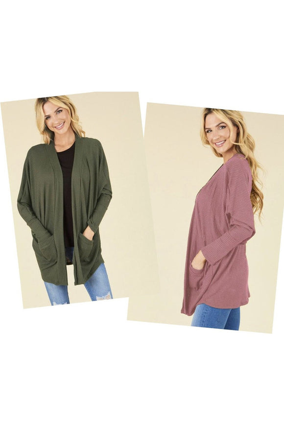 Waffle Knit Cardigan (Mauve or Green)