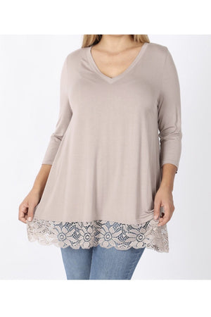 Curvy V-Neck Lace Trim Tunic Top