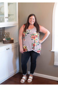 Curvy Sleeveless Striped Top