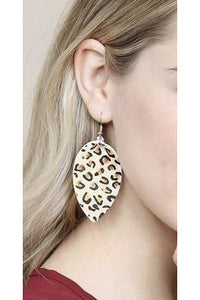 White Leopard Drop Earrings