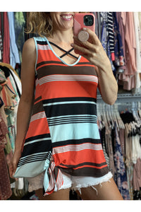 Orange & Mint Stripe Top