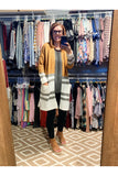 Camel Color Block Cardigan