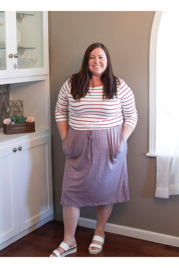 Curvy Heathered Burgundy Striped Dress
