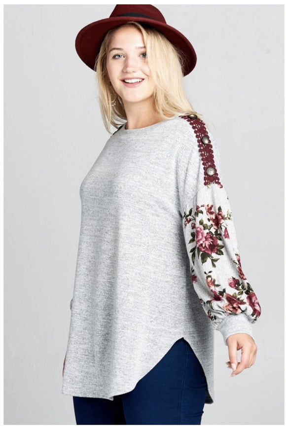 Plus Size Bubble Sleeve Top (Heather Gray)