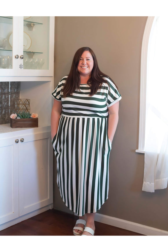 Curvy Olive Striped Dress