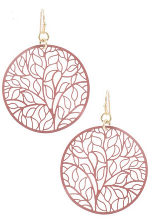 Leaf Cut-Out Circle Earrings