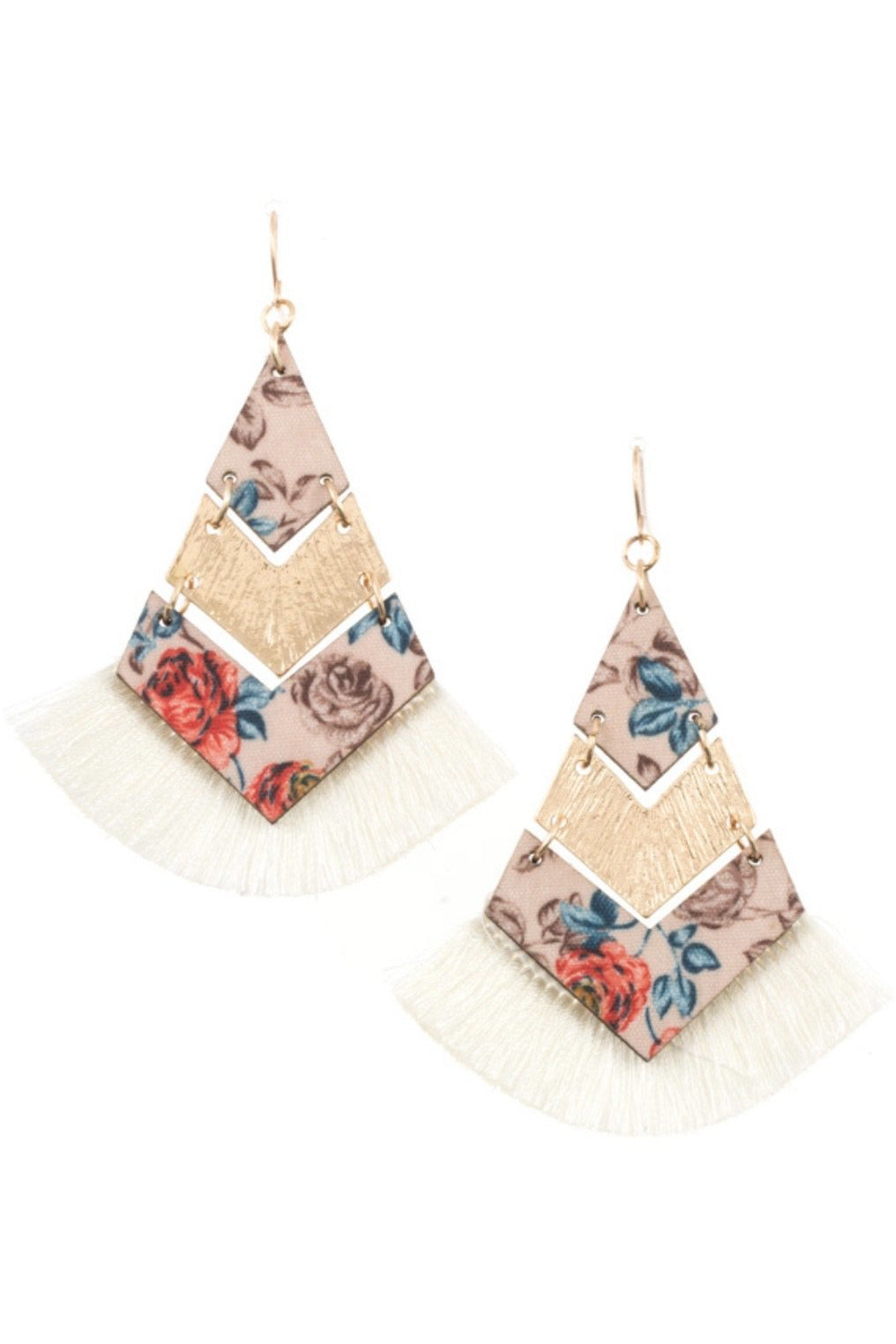 Floral Chevron Link Tassel Earrings (Ivory)