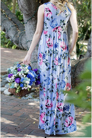 Curvy Sweet Floral Sleeveless Maxi Dress