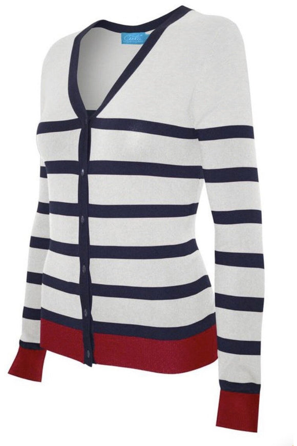 Plus Size Long Sleeve V-Neck Button Down Cardigan (Ivory/Navy/Red)