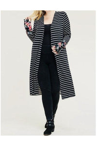 Curvy Striped Cardigan with Floral Sleeves