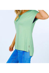 Side Slit Basic V-Neck Top