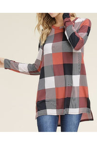 Red Checkered Print Tunic Top