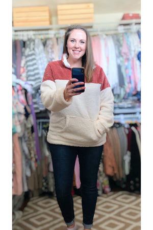 Curvy Rose Sherpa Pullover