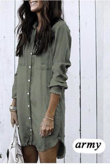 Army Distressed Denim Dress