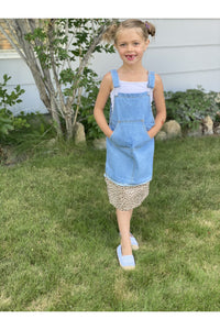 Girls Denim Leopard Overall Dress