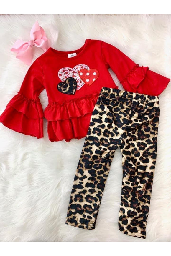 Girls Leopard Heart Set